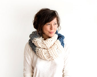 Mega Chunky Trio Knit Cowl in Cream, Denim and Grey