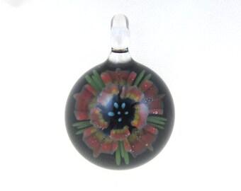 Lampwork Glass Flower Pendant