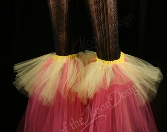 Raver tutu boot covers fluffy UV reactive dance club rave party leg warmers neon retro hot pink yellow -- Sisters of the Moon