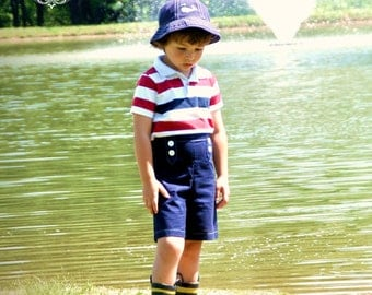 Boys Shorts Sewing Pattern newborn through 8 boys 2 options incl. flat front, pockets, beltloops PDF Instant