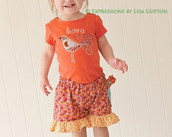 Pretty Girls Shorts Sewing Pattern ruffles, flat front, newborn through size 8 PDF Instant