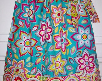 Pillowcase Dress with Flowers Summer Dresses Turquoise and Pink Floral Dress Birthday Dress Mod Dress Colorful Dress Sundress