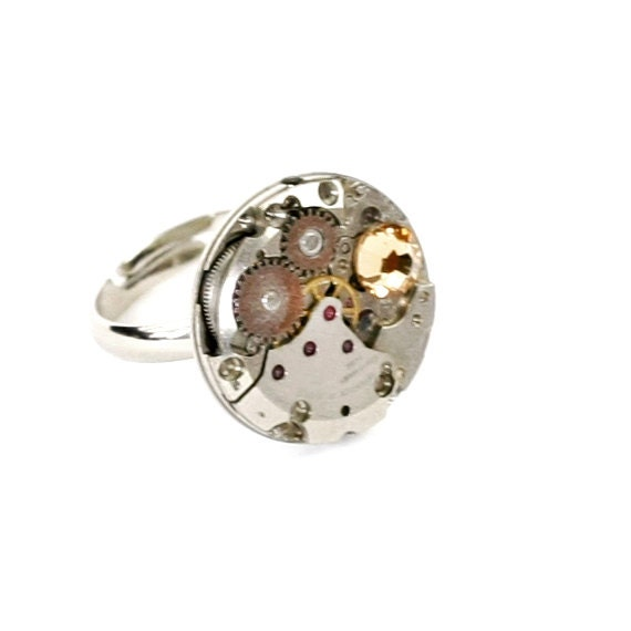 Steampunk Silver Ring with Circle Shaped Vintage Watch and Topaz Swarovski Crystal by Velvet Mechanism