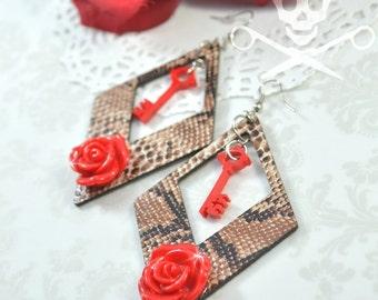 SNAKESKIN SWEETHEART - Animal Print, Key, and Rose Charm Earrings