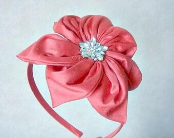 Agnes dupioni silk diamante flower headband