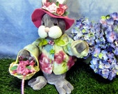 Primitive Bunny Doll, Bunny, Spring Decoration, Roses, Rabbit Doll