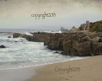 Beach - Greeting Cards, scenic ocean,rocks, beach, atmospheric, Set of 5 Blank photo cards