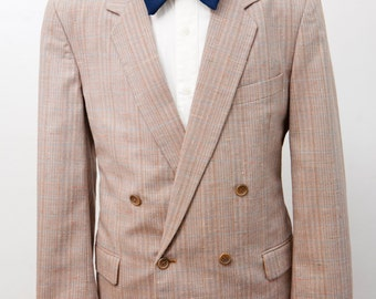 Men's Blazer / Vintage Double-Breasted Satin Jacket / Size 40 Medium