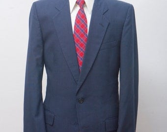 Men's Suit / Vintage Navy Blazer / Pinstripe Jacket / Pierre Cardin Two-Piece / Size Small