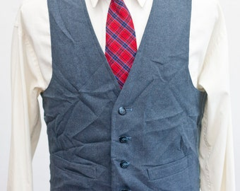 Men's Suit Vest / Vintage Dark Blue Waistcoat / Size 38/Small-Medium