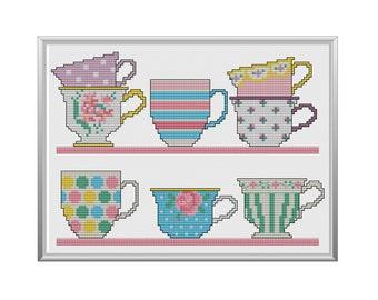 Pretty Teacups Cross Stitch Pattern Instant Download