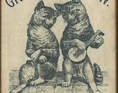 Wood Magnet Cats Grand Cat Show 1883 Vintage Postcard Print -127