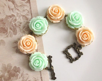 Vintage Inspired Victorian Lace Roses in Peach and Mint green, Nature Garden Inspired Antiqued Style Toggle Clasp Bracelet