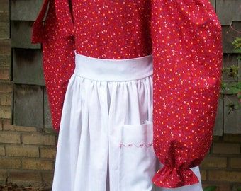 Girls Prairie Dress..  Old fashion costume, Bonnet and Embroidered Apron ... Made to Order Only..PLEASE read lead time.