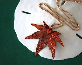 Japanese Maple Copper Leaf Necklace, Real Leaf Pendant, Maple Leaf, Copper Maple Leaf, Copper Maple NecklaceLC25