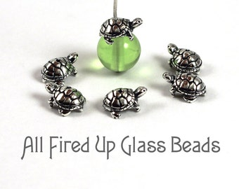 Turtle Bead Cap Sterling Silver