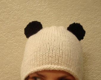 PANDA hand knit hat --- bobcat hats