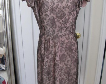 Amazing Mocha and Lace Vintage Wiggle Dress