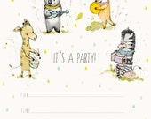 Its A Party, invitations, Set 10 invitation- size 4x6 inches