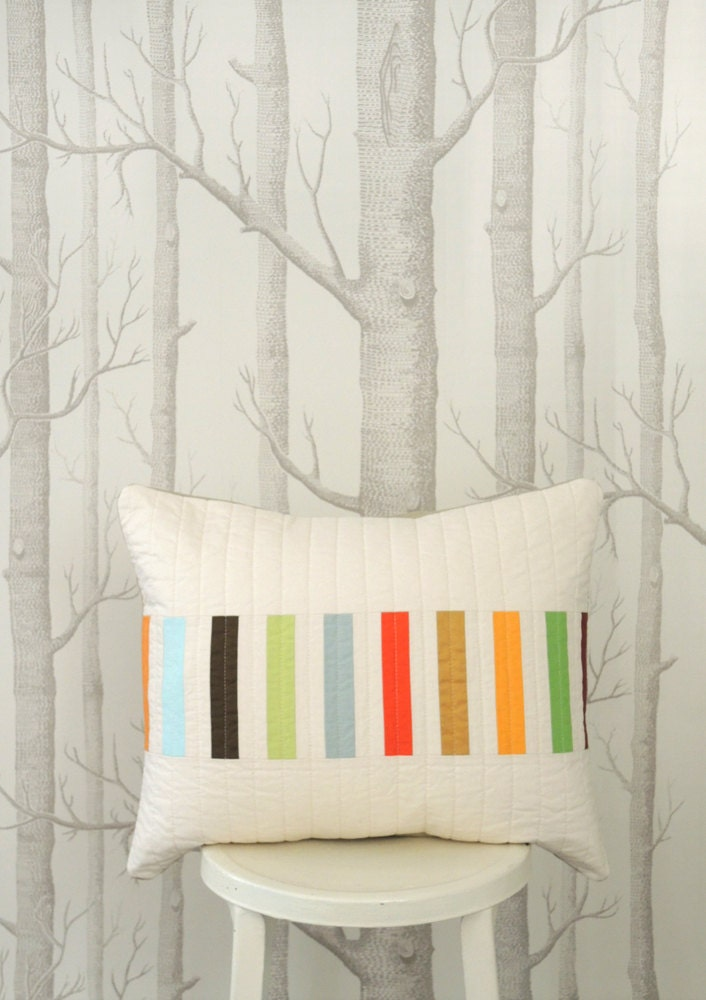 Modern Pillows Etsy : Modern Lumbar Pillow Picket Multi