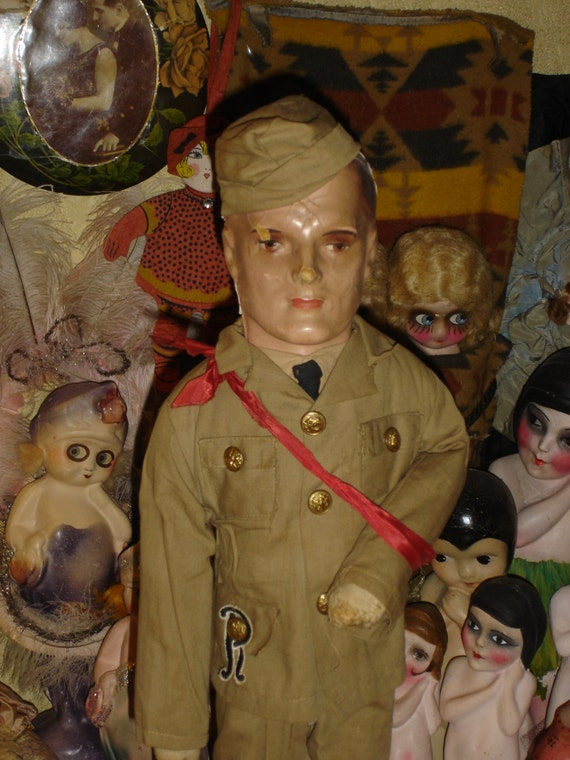 "Rare Male Military Boudoir Doll Large 27"" Tall"