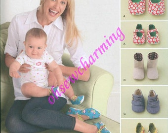 NEW Simplicity 2278 Sewing Pattern Shoes Booties House Slippers womens babies baby