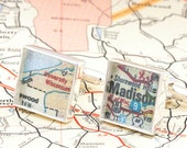 Cufflinks made from a Vintage Map of University of Wisconsin at Madison  - with Gift Box
