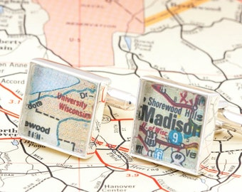 Cuff links made from a Vintage Map of University of Wisconsin, Wisconsin Cuff Links