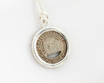 Seattle Transit Token Sterling Silver Pendant and Necklace