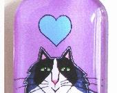 Tuxedo Cat Glass Pendant SALE/ Longhair Kitty/ Violet Lavender