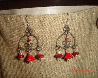 Red Flower Blossom Chandelier Earrings