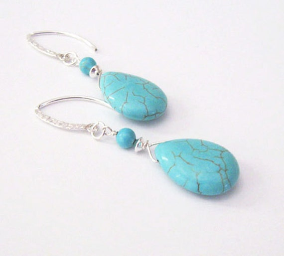 Turquoise Howlite Earrings, Teardrop Shape, Sterling Silverfilled Hooks