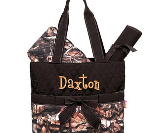 Diaper Bag Personalized Camouflage Natural Camo Brown Quilted Monogrammed