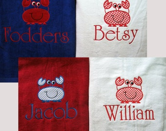 Personalized Beach Towel Sea Crab Monogrammed Embroidered 11 colors