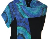 Hand Painted Silk Scarf  Cenote Blue