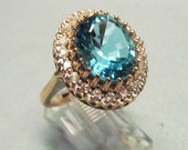 RESERVED I'm The Ocean Vintage London Blue Topaz Ring with Diamonds