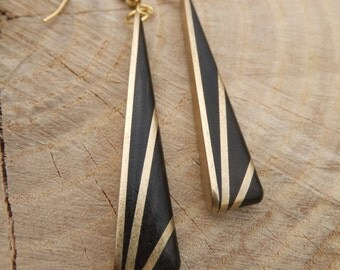 Deco Inspired Earrings - Ebony and Brass