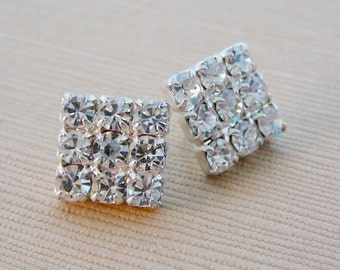 Vintage .. Czech Buttons, Clear Rhinestone Square Sparkle Button, Wedding Embellishment, Vintage Bride, Vintage Bridal millinery