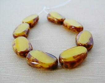 Czech Glass Beads Oval Corn silk yellow