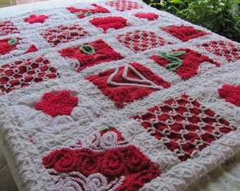 stunning red vintage chenille patchwork infant child quilt