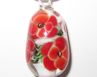 Lampworked Glass Poppy Flower Necklace