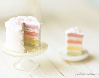 Miniature Food - Dollhouse Pastel Rainbow Cake 1/12 Scale