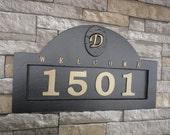 "Monogram HOUSE NUMBERS Address Plaque Large 18 x 11"""