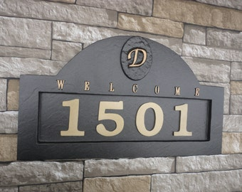 Monogram HOUSE NUMBERS Address Plaque Large 18 x 11""