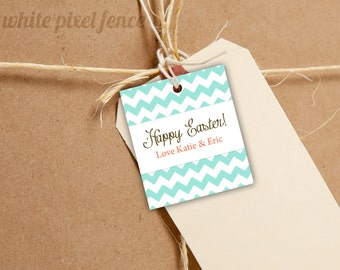 Personalized easter gift tags etsy 20 personalized matte hang tags product tags gift tags chevron easter negle Choice Image