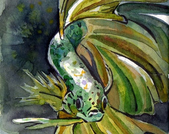 Print of Green Betta Fish - Reproduction of Original Watercolor on Paper Painting by Jen Tracy - Green Fish Wall Art