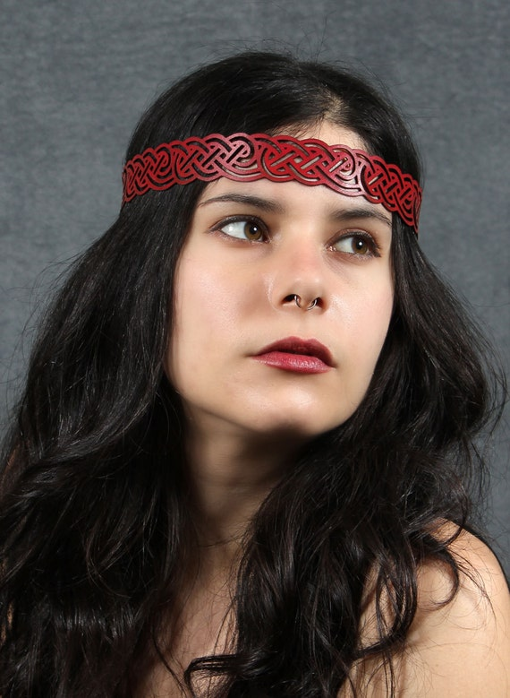 Celtic Knot Headwreath in Red Leather