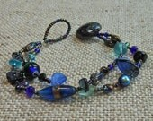 Blue Glass Beaded 2-Strand Bracelet with Vintage Button Closure B-567