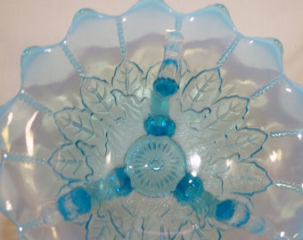 Antique Glass Northwood Blue Opalescent Leaf and Beads Footed Bowl