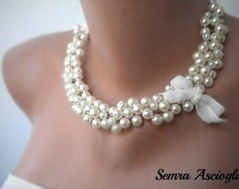 Pearl Necklace, Handmade Weddings Jewelry ,Bridesmaids Gifts ,1950's inspired Pearls